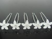 Free shipping, 20pcs  bride wedding white resin flower hairpin