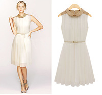 Free Shipping Dress chiffon skirt wholesale 2013 Summer new Ladies lapel pleated waist belt dress 2 Color