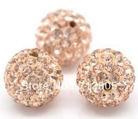Wholesale 20pcs/lot 12mm Peach Shamballa Crystal Ball Champagne Pave Rhinestone Ball Beads Shambala Clay Beads Free Shipping