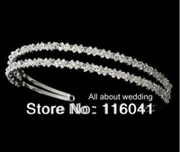 Free Shipping Silver Plated Dazzling double row rhinestone and crystal Wedding Bridal headband