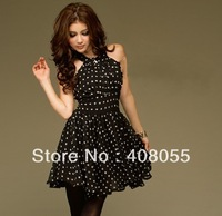 2013 New arrival black white dot dress chiffon Halter fashion design women's one piece mini dress party wear promotion price