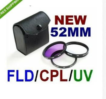 52mm CPL+UV+FLD + Cap camera lens Filter CASE Kit for Canon Nikon