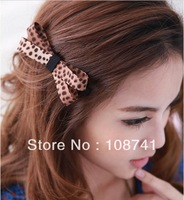 Beauty 120pcs/lot Leopard Bownot Hair Clip Hairpin Claw hair accessory