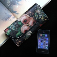 2013 Women's Handbag Genuine Leather Wallet Fashion Oil Painting Flower Long Design Women's Multifunctional Bag Wallet