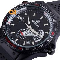 TOP black soft silicon wrist band sports automatic mechanical watch fashion calendar pilot watches man