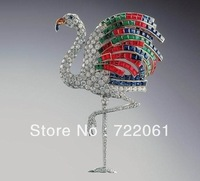 Free postage to retail and wholesale 925 sterling silver jewelry  brooches Fine micro set color gem flamingos brooch