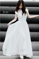 Женское платье 2014 Fashion flower embroidery dress high waist princess white dress