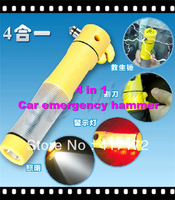Necessary! Car Emergency tool 4 in 1 Automobile emergency hammer Life-saving hammer/Lighting/Cutter/ Warning lamp Free shipping