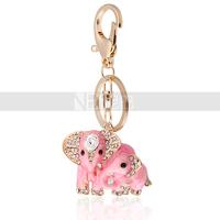 Thai Elephant Family 18K Gold Plated Crystal Keychain Fashion  Zinc Alloy  Free Shipping  Wholesale