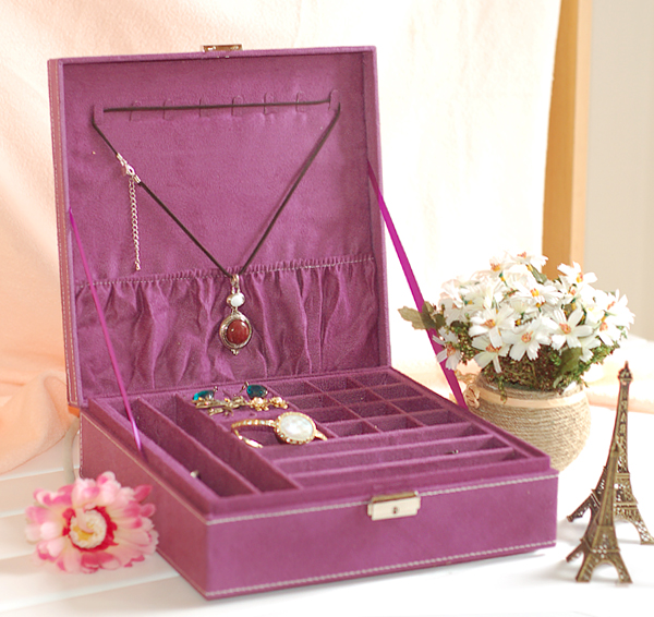 Quality velvet jewelry box double layer jewelry box super large capacity belt metal lock birthday gift(China (Mainland))