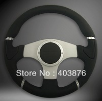 DHL Free Shipping! 14 inches flat Leather Steering Wheel, Drifting steering wheel for Modified Car, Sport Car 5138