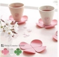 Free shipping! home sweet vintage four leaf grass flower-shaped coasters thermal insulation silicone pad coasters