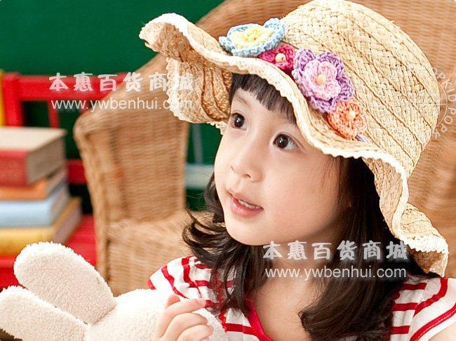 Free shipping girls hat.,sun bonnet, fashion cap, kids flowers hat,curve brim hat for children ,wholesale straw hat(China (Mainland))