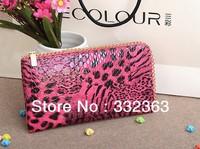Free Shipping 4 Colors Leopard  Women's Wallet Envelope Clutch Hand Bag Totes Envelope Purse Women Card Holder Case