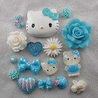 New 3D Bling Blue Hello Kitty Flower DIY Cell Phone Case Deco Den Kit
