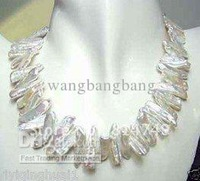 "17"" White Biwa Freshwater Pearl Necklace"