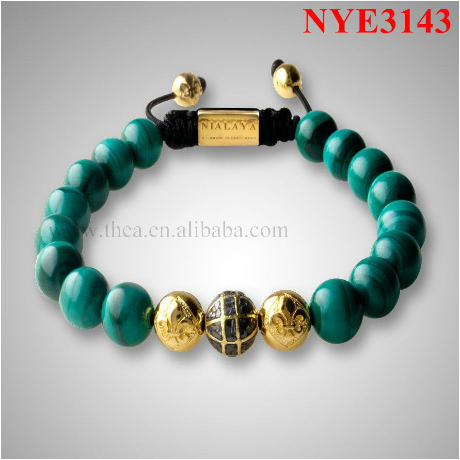 NYE3143 10mm malachite and 14K gold alloy beads shamballa bracelets ,best design(China (Mainland))