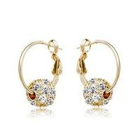 Stock Korean jewelry earrings created created diamond earrings circle earrings Rolling Sphere Crystal Clip Earrings