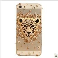 Free shipping High quality leopard head 3D Diamond Rhinestone Case For iPhone4 4s Fresh Luxury