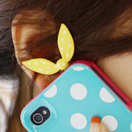 Candy color bow rabbit ears for apple series mobile phone dustproof plug headphones(China (Mainland))