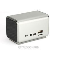 Silver K-8 Portable Micro SD TF USB Mini Music Speaker Player Stereo PC MP3 80994