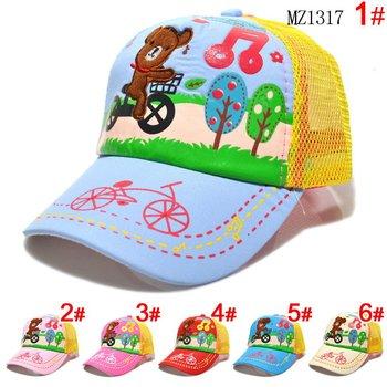 Lovely Cartoon Bear Bike Doodle Printing Baby Baseball Caps Children Sun Caps Kids Cotton Beanies Hats Sweety Kids' Headwear