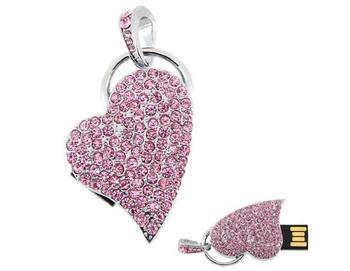 Free Shipping Crystal Heart USB Flash Drive (Pink) 100% Full Capacity 4GB 8GB 16GB 32GB 64GB