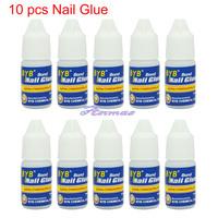 Free Shipping 10 Pcs 3g GLUE ACRYLIC UV GEL FALSE Full French NAIL ART TIPS Decoration Tools,