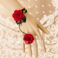 gothic vintage red rose black lace charm bracelets bangle fashion palace party jewelry WS--80