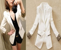 Free Shipping 2013 women's spring outerwear leopard print one button slim white women blazer female overcoat fashion coat