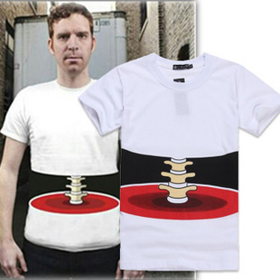 2013 summer new arrival personalized 3d bones fashion short-sleeve t-shirt male t(China (Mainland))