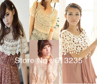Hot Fashion Sexy Women Embroidery Floral Lace Crochet Tee T-Shirt Sheer Sleeve Sheer Sleeve Sexy Vintage clothing Free Shopping