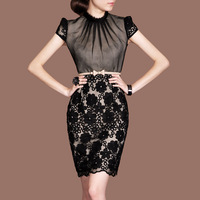 2013 summer OL outfit elegant rawsilk stand collar puff sleeve f48 short-sleeve dress plus size available