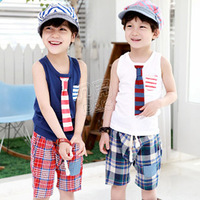 2013 summer tie boys clothing girls clothing child sleeveless T-shirt shorts set tz-0715