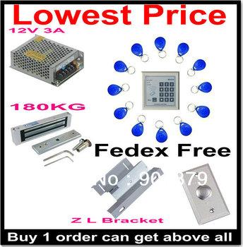 Fedex/UPS Free Shipping Hotsales Automatic RFID Keypad Access control+Power+180kg Magnetic Lock+ZL Bracket+button+10 keyfob