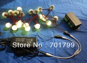 40pcs 30mm milky WS2811 pixel module kit,with dmx-spi convertor,12V/85W power adaptor