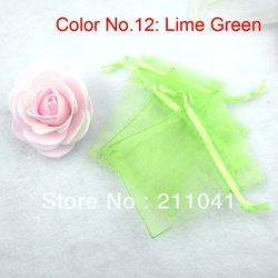 Wholesale Promotional Gift Bags Lime Green color size 7*9cm(16 colorways for choice)(China (Mainland))