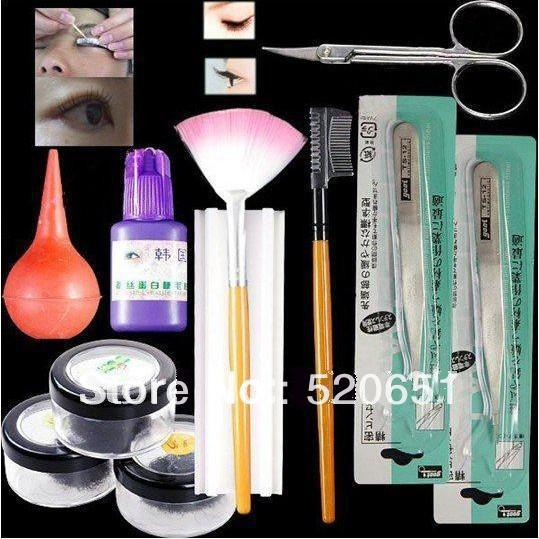 FreeShipping False Eyelashes Eyelash Extension Kit with Curlers Rods Wholesales Price(China (Mainland))