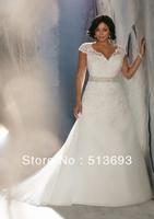 Distinctive Design V-neck Crystals Short Sleeves Plus Size Wedding Dress Lace
