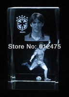 3D laser optic crystal souvenir sports gift image Kaka fotoes frame box of football fan gift,home decoration paperweight gifts