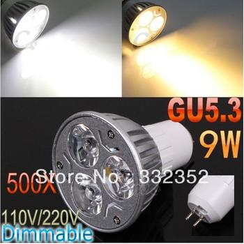 DHL FEDEX Free Shipping 500pcs/lot GU5.3 High power CREE 3x3W 9W 110V-240V Dimmable Light lamp Bulb LED Downlight Bulb spotlight