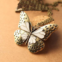 (Min order$10) Free shipping!intage Royal heavy drops of oil hollow butterfly chain necklace .