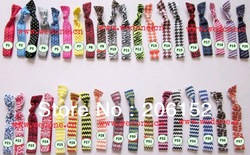 Free shipping wholesale 50pcs mixed 10colors Chevron &amp; polka dot &amp;animal Print FOE Hair Tie Elastic har tie hairaccessories(China (Mainland))