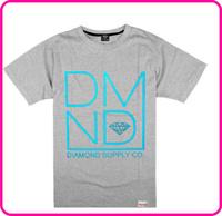 Stock Free Shipping o-neck short-sleeve T-shirt gray color fashion men's clothing short-sleeve shirt slim diamond t shirt