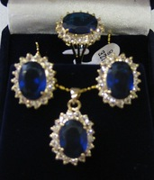 Fashion Jewelry 18k Yellow Gold GP Inlay Blue Faceted Crystal Necklace Earring Ring Set
