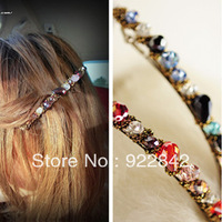 Color block buling sparkling irregular crystal gold beaded hairpin spirally-wound