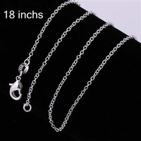10pcs/lot Promotion! wholesale 925 silver necklace, 925 silver fashion jewelry Curb Chain 1mm 18 inches Necklace C0011