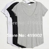 New Fashion Women Ladies Basic V-Neck Short sleeve Loose Cotton Trend T-shirt Blouse Tops Size S M L XL XXL XXXL XXXXL