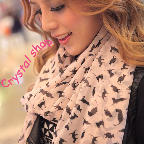 Min order is 10usd Fashion cat scarf for women shawl muffle designs scarf for girl free shipping(China (Mainland))