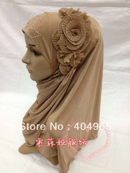 H611 latest popular flower hijab,fast delivery,assorted colors